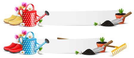 Gardening garden work tools banner illustration isolated 矢量图像