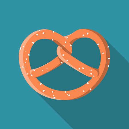Salted pretzel flat design icon