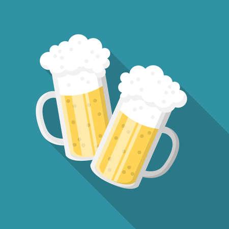 Beer glasses flat design icon illustration