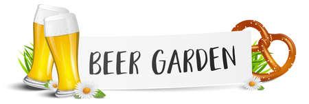 Beer garden sign with beer glass and pretzel banner Ilustração