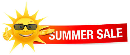 Summer sun sale with sunglasses and paper banner