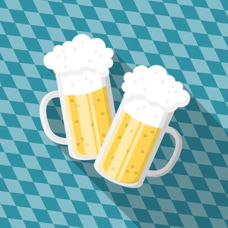 Oktoberfest beer glasses with Bavaria flag pattern icon symbol flat design