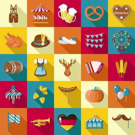 Oktoberfest Munich icons symbols vector collection flat design Ilustração