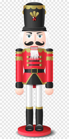 Christmas vintage retro wooden nutcracker toy vector isolated on transparent background