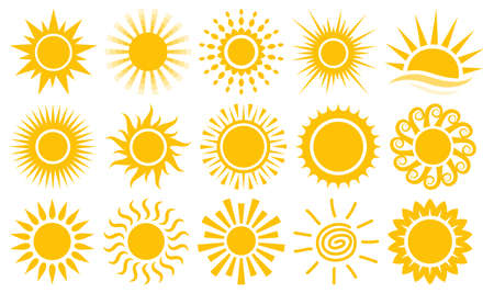 Sun sunshine rays icons vector symbol collection set