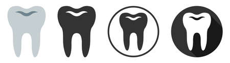 Tooth dental dentist icon symbol flat design vector Stock Illustratie