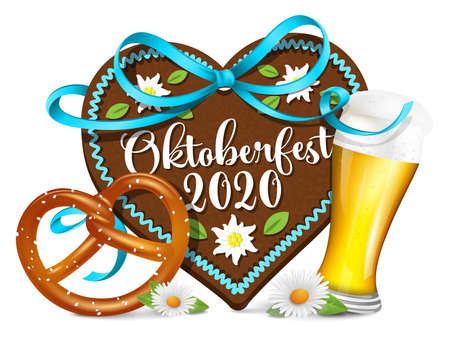 Oktoberfest 2020 gingerbread heart with pretzel and beer illustration vector symbol isolated