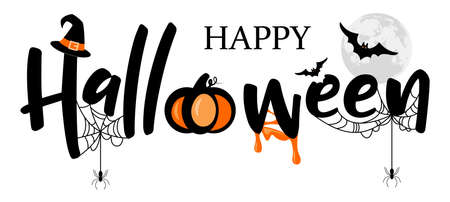 Happy Halloween lettering logo illustration vector isolated
