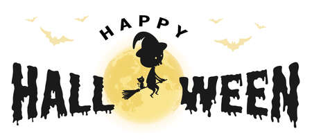 Happy Halloween logo symbol sign with a flying witch and a full moon isolated 矢量图像