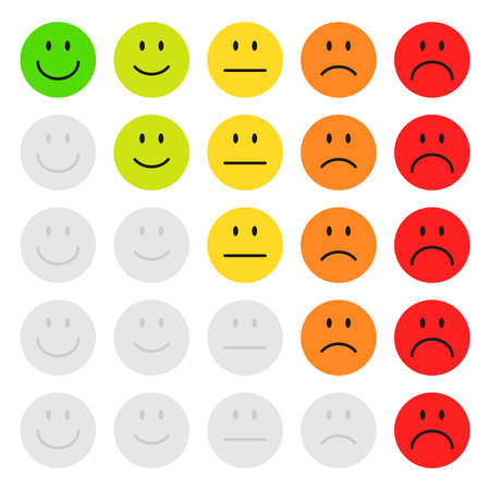 Smiley faces for rating satisfaction vector illustration isolated