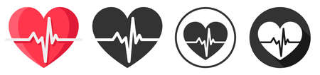 Heart beat pulse flat design icon symbol flat design set