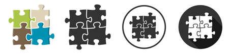 Puzzle pieces icon symbol flat design set illustration