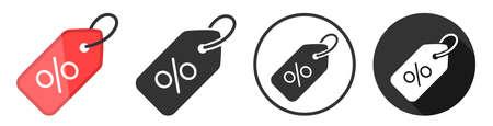 Discount sale offer icon symbol set flat design. black friday concept