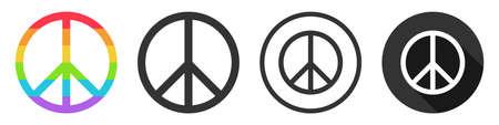Peace icon symbol vector set collection flat design