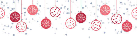 Merry christmas balls hanging decoration drawing banner isolated background