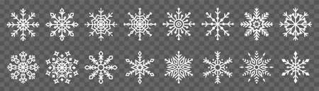 Snowflake symbol icon vector set collection isolated on transparent background