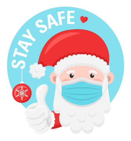 Santa claus with face mask and thumbs up vector symbol isolated. Stay safe corona christmas concept