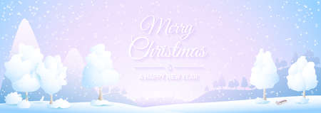 Merry Christmas winter snowy landscape with mountains, village and trees silhouette illustration banner 矢量图像