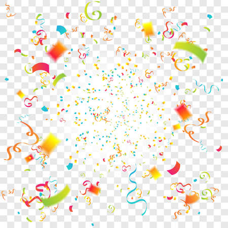 Colorful confetti and streamer party background illustration isolated transparent