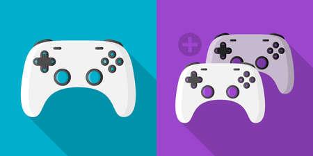 Gaming controller single and multi player icon symbol flat design 矢量图像