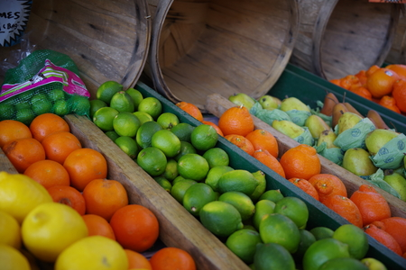 Tampa, Florida  USA - May 5 2018: Tampa Bay Farmers Market - Fresh  Farmers Market Fruit and Vegetable Produce Stand
