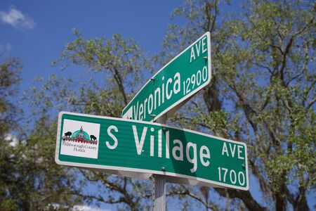Tampa, Florida / USA - May 5 2018: Veronica Avenue and South Village Avenue Street Sign at Intersection