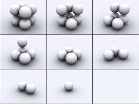 3ds: 3d rendered image of 4 spheres in steps. Very detailed with reflection.