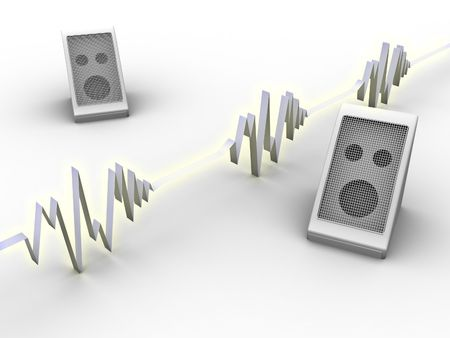 soundwave: 3d rendered image of a pair of speakers and a soundwave. Stock Photo