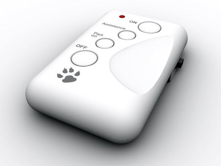 3d rendered image of a remote control, modelled in 3dsmax. photo