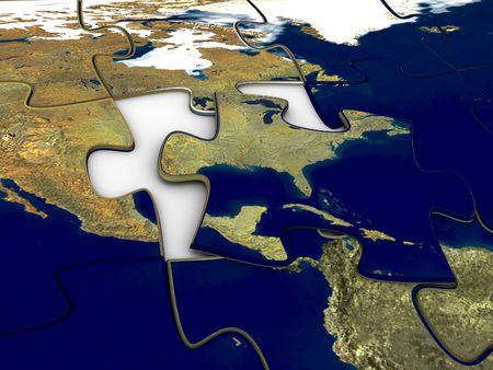 naciones unidas: 3d prestados imagen de un puzzle-rompecabezas del mundo, EE.UU., en el enfoque. De alta calidad.