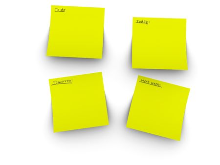 3d rendered image of 4 yellow post-it notes. Easy to add your own text or graphic. photo