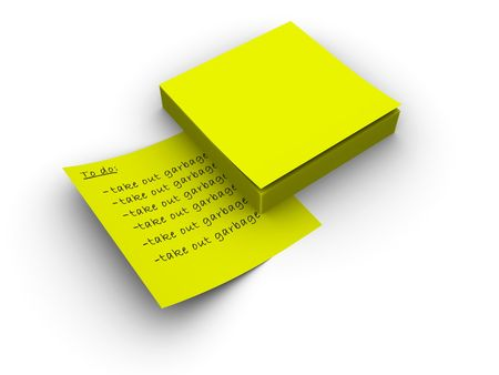 3d rendered image of a pad of yellow post-it notes. Easy to add your own text or graphic. photo
