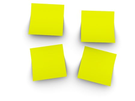 3ds: 3d rendered image of 4 blank, yellow post-it notes. Easy to add your own text or graphic.