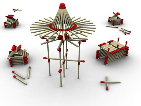 3d rendered image of a mill and some housing and storage made up of matches. Very highly detailed. photo