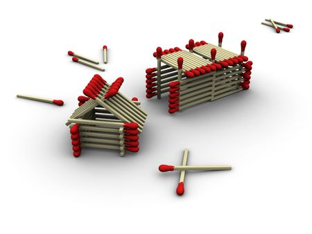 3d rendered image of a tiny farm made up of matches. photo