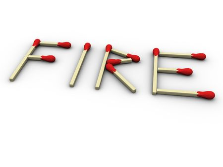 3ds: 3d rendered image of matchsticks forming the word fire.