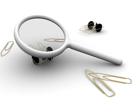 3ds: 3d rendered image of a magnifying glass with paperclips and paperclip autos.