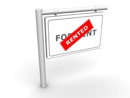 3ds: 3d rendered image of a For RentRented sign.
