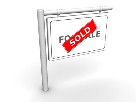 3ds: 3d rendered image of a For SaleSold sign.