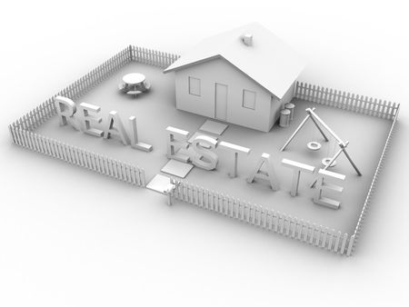 3d rendered image of a house with the words real estate. photo