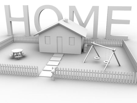 3d rendered image of a house with lawn, picket fence and the word home. photo