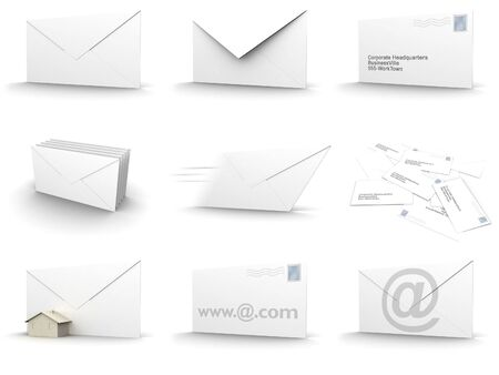 3d rendered image of envelopes in different forms. high quality. easy to edit and adapt to fit your needs. this collection is made up of 9 images (1024x768 each). Stock Photo - 297072