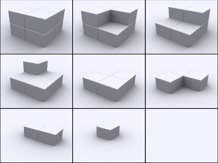 3ds: 3d rendered image of 8 boxes put together cube by cube in 9 steps.