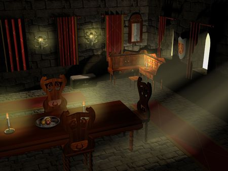 cloth halls: An interiour scene of a 3d rendered 13th century castle. a very moody image of a dark midevil castle.