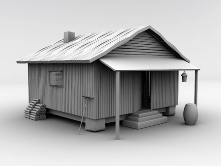 shanty: 3d rendered textureless cabin on white background. This is a cabin from one of my other images, isolated against a white background. Stock Photo