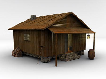 Abteile: 3D-gerenderten h�lzernen H�tte stand auf wei�em Grund. Dies ist eine Kabine von einem meiner anderen Bildern, isoliert gegen eine wei�e Boden.