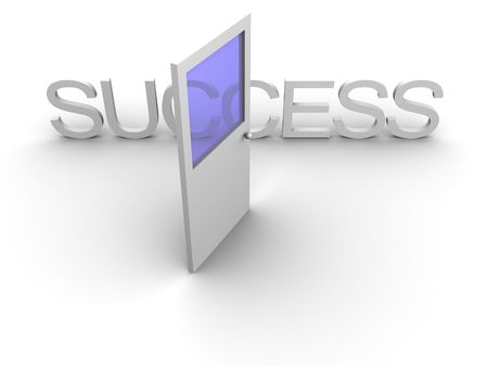 3ds: 3d rendered image of an open door leading to success.