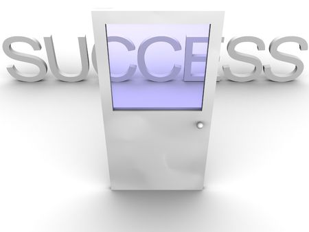 web portal: 3d rendered image of a door leading to success.