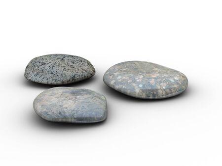 3D-Bild von 3 verschiedenen, polierte Steine. Sehr detailliert.  Standard-Bild - 297068