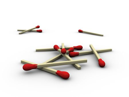 3ds: 3d rendered image of a heap of matches.